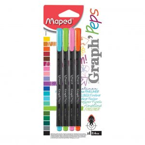Maped Graph Peps Fine Markers Assorted Pack of 4 749143