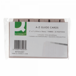 Q-Connect Guide Card 5×3 Inch A-Z Buff Pack of 25