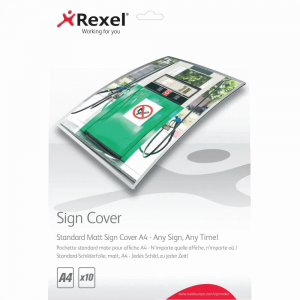 Rexel Standard Matt Sign Cover A4 Pack Size 10