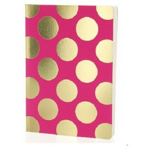 GO STATIONERY SHIMMER A5 NOTEBOOK PINK WITH GOLD SPOTS