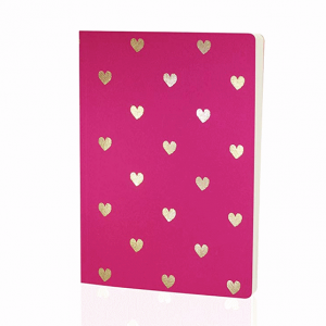 GO STATIONERY SHIMMER A5 NOTEBK PINK WITH GOLD HEARTS