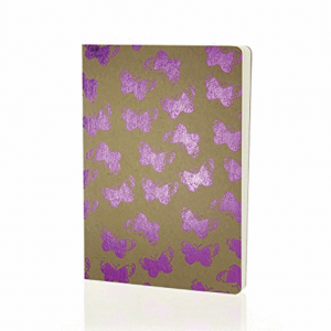 Go Stationery Shimmer A5 Butterflies Notebook – Kraft Pink
