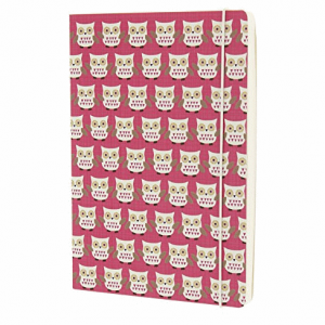 GO STATIONERY OWLS PINK A5 NOTEBOOK