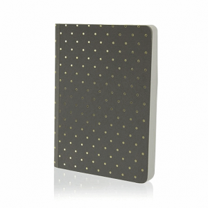 GO STATIONERY SHIMMER A6 NOTEBK BLACK WITH GOLD SPOTS