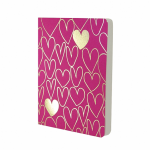 GO STATIONERY SHIMMER A6 NOTEBK PINK WITH GOLD HEARTS