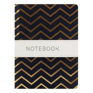 GO STATIONERY SHIMMER A6 NTEBK BLACK WITH GOLD CHEVRON