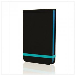 GO STATIONERY COLOUR BLOCK POCKET NOTEBK BLACK N CYAN