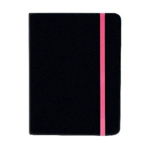 GO STATIONERY COLOUR BLOCK SMALL NOTEBK BLACK N CERISE