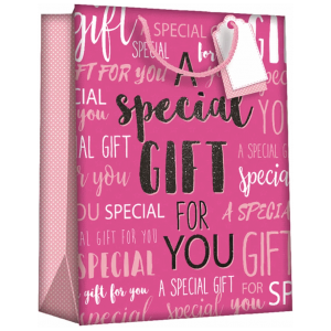 Gift Bags Wordy Pink Large 6pk
