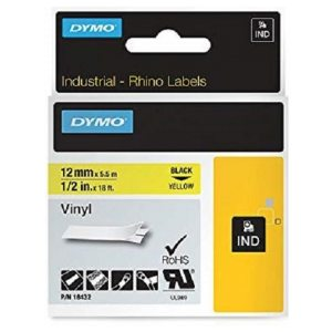 Dymo RhinoPRO Vinyl Labels, Self-Adhesive 12 mm x 5.5 m Black on Yellow