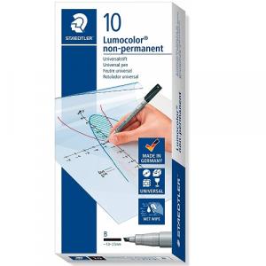 Staedtler 312Lumocolor Pen B Point 1.02.5mm Non-Permanent Black Pack of 10
