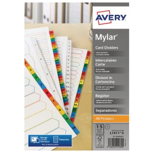 AVERY BRIGHT WHITE MYLAR 1-5 5460061