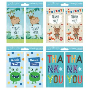 Thank You Cards Boy 4 Designs Pk192