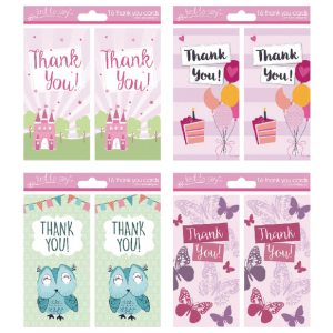 Thank You Cards Girl 4 Designs Pk192