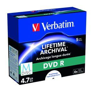 Verbatim M-Disc DVD R 4.7Gb 4x Pk5 43821