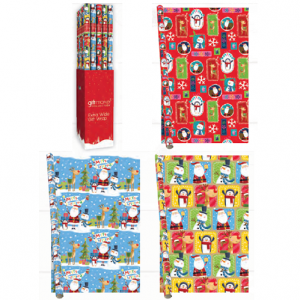 Christmas Wrapping Paper 40 Rolls 3 Designs 99cm x 3m