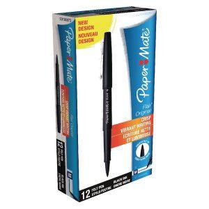 Papermate Flair Black Felt Tip Pens Pk12