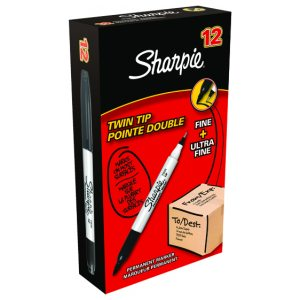 Sharpie Twin Tip Marker Black Pk12