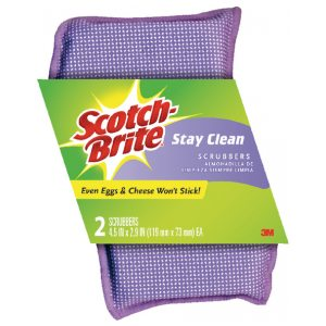 2 x Scotch-Brite Stay Clean ScRubber (Long lasting, non-scratch scrubber pad) 202