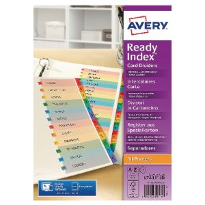 AVERY READYINDEX MYLAR PUNCHED A-Z