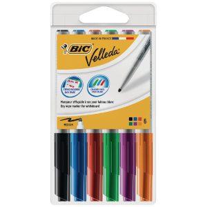 Bic Velleda 1741 Drywipe Marker Assorted (Pack of 6)1199005746