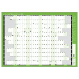 Q-Connect Year Planner Mounted 855 x 610mm 2020 KFYPM20