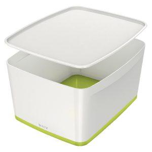 Leitz MyBox Large Storage Box With Lid White/Green 52161064