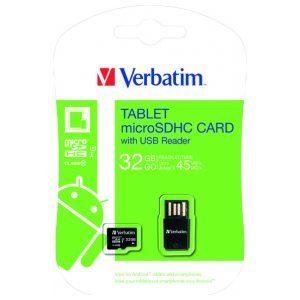 Verbatim Tablet Micro SDHC Card 32GB with USB Reader 44059