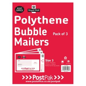 Postpak Poly Bubble Mailer Size 3 220 x 330mm Pack of 3