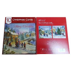 CARDS 10 SQUARE VILLAGE SCENE 24PK