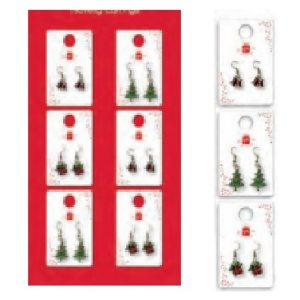 NOVELTY CHRISTMAS EARRINGS PK36