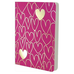 SHIMMER A6 NOTEBOOK PINK/GOLD HEARTS