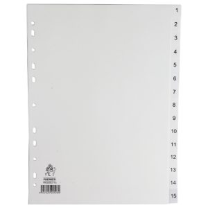 WB INDEX A4 1-15 POLYPROP WHITE