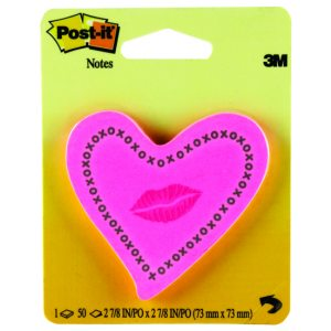 POST-IT NOTE HEART WITH LIPS NEON PINK