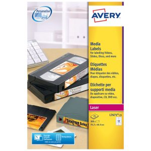 AVERY VIDEO FACE LABEL 25 SHEETS PER PACK