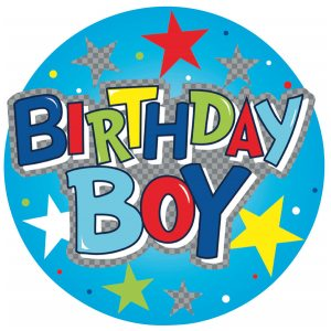 BIRTHDAY BOY GIANT BADGE   6PK